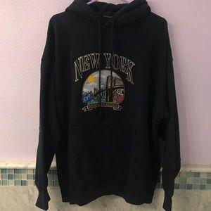 Brandy Melville Navy Embroidered New York Hoodie